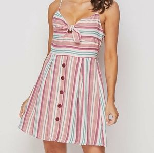 Striped Fit and Flare Bow Tie Dress